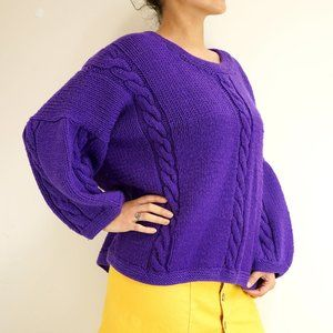 Vintage Handmade Purple Chunky Sweater - One Size